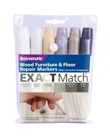 Rejuvenate White & Gray Exact Match Wood Furniture & Floor Repair Markers (6 Piece Set)