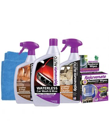 Rejuvenate Waterless Car Wash, Wax And Leather & Vinyl Detail Kit - 6 Piece